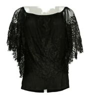 K Jordan Women's Top Sz L Lace Floral Cape Knit Short Sleeve Black