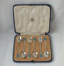 Boxed Set of 6 Art Deco Sterling Silver & Enamel Coffee Spoons 1932/ L 9.5 cm