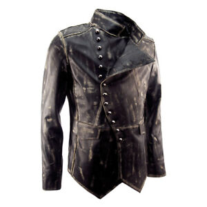 Distressed Lambs Leather Black Fitted Military Mens Biker Jacket Impero London