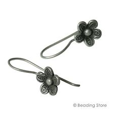 97-99% Fine Silver Hill Tribe 27mm x 10.5mm Daisy Flower Dangle Drop Earrings