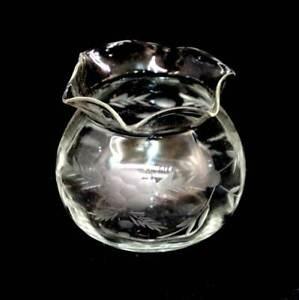 Vintage wheel etched fine glass Dorothy bag shape small vase