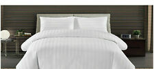 100% Cotton White Bedding Set Luxury Hotel Quality Satin Strip Duvet Cover 300TC