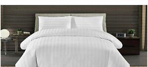 Egyptian Cotton White Bedding Set Luxury Hotel Quality Strip Duvet Cover 300TC