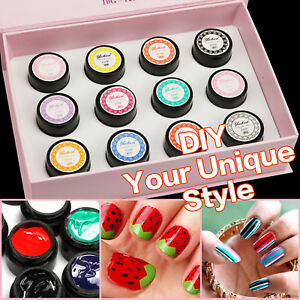 12 Colors Sculpture 3D Carved Glue Drawing Painting UV Gel Acrylic Nail Art Kit