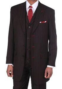 Men's 3pc Gangster Pin-Striped Three Button Suit 5903 w/ Vest Milano Moda