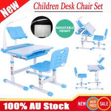 Adjustable Height Kids Study Desk Table Chair Set Lamp Children Write Read Draw