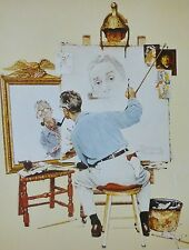 """NORMAN ROCKWELL """"TRIPLE SELF-PORTRAIT"""" LIMITED 1972 VINTAGE LITHOGRAPH 30x24"""