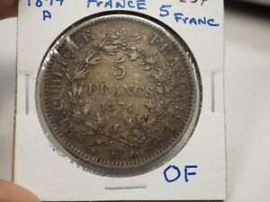 1874 A France 5 Francs .900 Silver Coin # 254