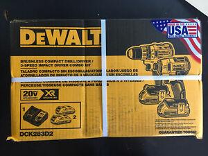 DEWALT DCK283D2 20V MAX XR Drill/Driver and Impact Driver Combo Kit New!!