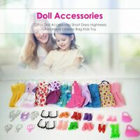 Set 32 Clothes And Accessories For Barbie Doll Party Dress Outfit Dresses Shoes