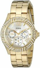 Guess U0632L2 Women's Gold Tone Crystal Accented Bezel Multifunction Watch