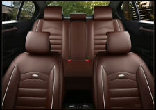 US Car Seat Cover Size M PU Leather 5-Seat Front & Rear Cushion W/pillows Browns