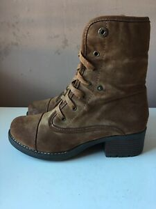 LOTUS Ladies Brown Faux Leather Ankle Lace Up Boots, Faux Fur Lining Size 5/38
