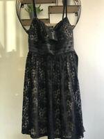 Ladies Laura Scott Black Lace Sleeveless Prom Dress Satin Waist Tie Sz 20 BNWT