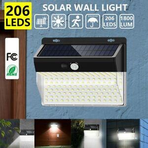 Lampe Solaire à 206 LED PIR Détecteur de Mouvement Éclairage Extérieur FR