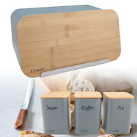 4 Pc Stainless Steel Bread Bin & Sugar Tea Coffee Canister Set With Bamboo Lids