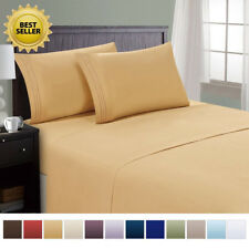 Deep Pocket Bed Sheet Set Flat Fitted Bed Cover&Pillowcase King/Queen/Full/Twin
