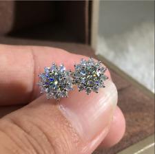 Cute 925 Silver White Topaz Cross CZ Sakura Flower Stud Earrings Wedding Jewelry