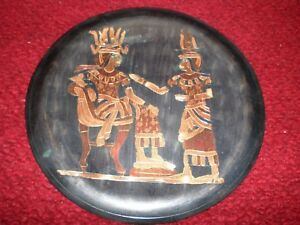 Antique Copper Wall Hanging Pharaohs Akhnaton's & Nefirtiti with Hem Hem Crowns