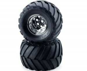 """Tamiya Wild Willy 1.9"""" Front V Groove Tyres on Chrome Rims - Wheels 2Pcs"""