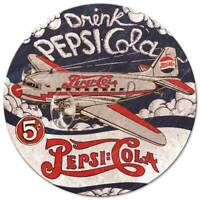 """DRINK PEPSI COLA DC3 PLANE 14"""" ROUND HEAVY DUTY USA MADE METAL ADVERTISING SIGN"""