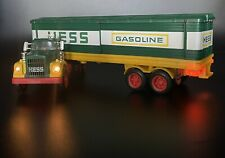 VINTAGE 1975 Hess Box Trailer Truck With WORKING LIGHTS. Two 5 Ring Barrels!