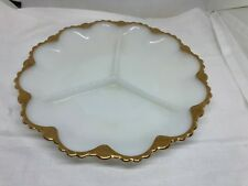 """VINTAGE MILK GLASS FIRE KING DIVIDED DISH WITH GOLD TRIM 9 1/2"""" Diameter Relish"""