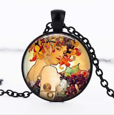 Autumn Harvest art Black Glass Cabochon Necklace chain Pendant Wholesale