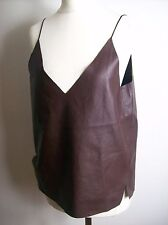 ZARA BROWN/ DARK RED FAUX LEATHER STRAPPY TOP SIZE M