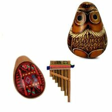 636,28,559 Gourd Carved Owl Maraca Pan Flute Ocarina Whistle Peru Musical Pack 3