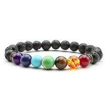 ZILA 7 Chakra Gemstone Bracelet Lava Stone Crystal Reiki Healing Balancing