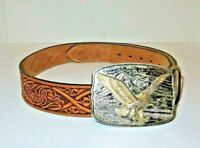NOCONA Tooled Leather Western Belt w/ Gold Silver Tone Eagle Buckle Mens Size 30