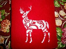FANCY DEER DESIGN  DISH DRYING MAT, EMBROIDERED