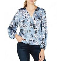 INC NEW Women's Floral Print Surplice Hi/low Blouse Shirt Top TEDO
