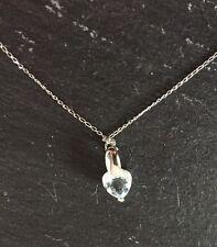 9ct White Gold 18 Inch Chain & White Gold Blue Topaz Heart Pendant -NEW RRP £120