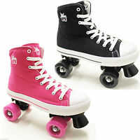 Rookie Canvas Hi Top Boys Girls Junior Retro Lace Up Quad Roller Skates UK Size