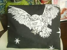 NEW COSMETIC  PURSE BAG IN POTTER OWL PRINT  FABRIC 23cm x 19cm BLACK AND WHITE