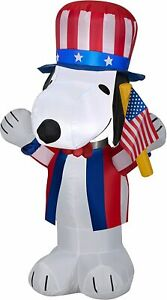 3.5' FT PATRIOTIC SNOOPY PEANUTS DOG W/ FLAG AIRBLOWN INFLATABLE LED YARD DECOR