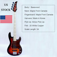 4 String Electric Bass Basswood Body Maple Neck Maple Fingerboard Alnico Pick Up
