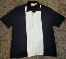 Cubavera Men's Medium Causal Button Down Shirt Heritage Fit Black and Cream