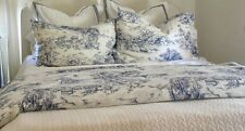 Duvet COVER Pillowcases BLUE White TOILE 18th Century French pattern EMMIE LAND
