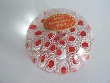 Murano Millefiori Controlled Bubble Paperweight Red White CANE Campanella Glass