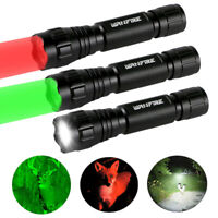 Tactical Green/Red/White LED Flashlight Torch Coyote Hog Varmint Hunting Light