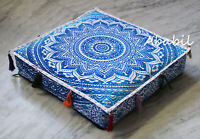 """New 22X22"""" Square Blue Ombre Mandala Cushion Cover Floor Decorative Pillow Cover"""