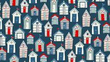 """Vista Al Mar Playa chozas sobre Azul tejido de algodón makower Tamaño 22 """"x18"""" más grandes disponibles"""