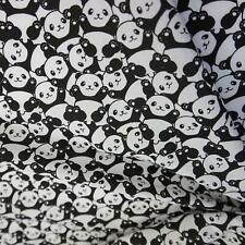White Polycotton Fabric with Trendy Black & White Pandas (Per Metre)
