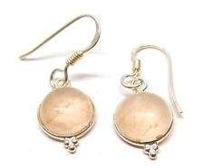 Handmade 925 Sterling Silver Rose Quartz 9 mm Round Drop Earrings With Gift Bag