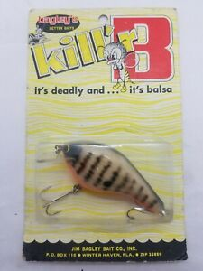 Vintage Bagley KB3-CN Crayfish on Natural Balsa [3] Crankbait Rare On Card