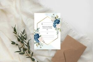DIY Wedding Invitations Write Your Own Invites Day Night RSVP - Blue Floral CW4