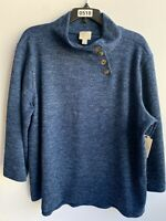 ST. John's Bay Women's Blue Polyester & Rayon Long Sleeve Cardigan Sweater US XL